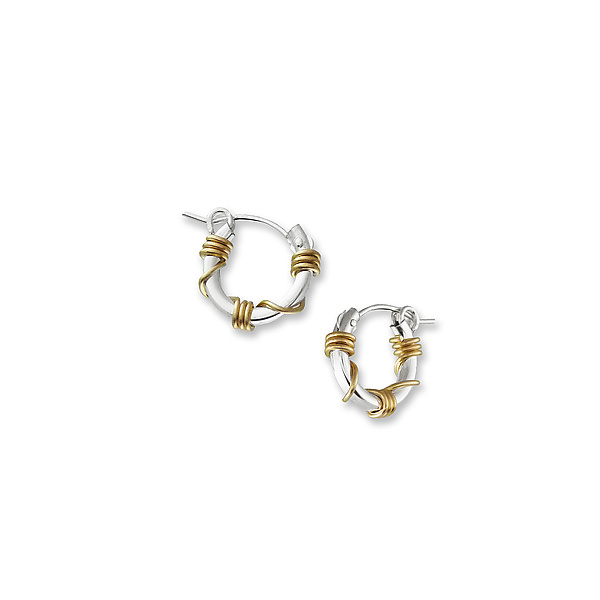 Small Silver and Gold Wrapped Hoops