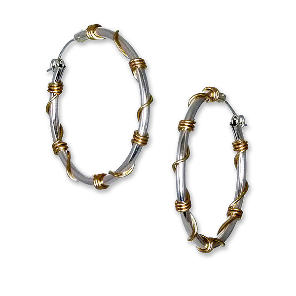 Large Silver and Gold Wrapped Hoops