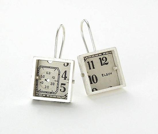Square Antique Watch Dial Earrings