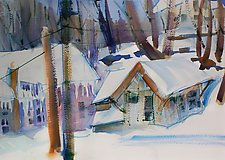 Across the Street in Snow by Alix Travis (Watercolor Painting)