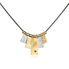 Mixed Metal Five Tab Necklace by Suzanne Q Evon (Gold & Silver Necklace)
