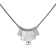 White Rhodium Five Tab Necklace by Suzanne Q Evon (Silver Necklace)