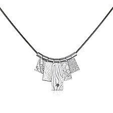 White Rhodium Five Tab Necklace by Suzanne Q Evon (Silver Necklace)