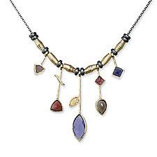 Iolite Five Stick Necklace by Suzanne Q Evon (Gold, Silver & Stone Necklace)
