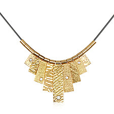 Gold and White Sapphire Tab Necklace by Suzanne Q Evon (Gold & Stone Necklace)