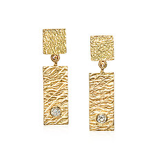 Gold & White Sapphire Tab Earrings by Suzanne Q Evon (Gold & Stone Earrings)