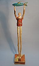 Atlas Fish No. 2 by Elizabeth Frank (Wood Sculpture)