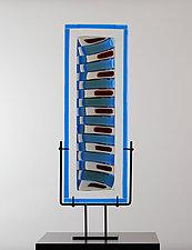 Strata Shift Spread in True Blue, Vanilla and Garnet by Laurel Porcari (Art Glass Sculpture)