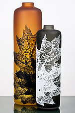 Leaf Vessels in Fall Tones by Nick Chase (Art Glass Vessel)