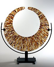 Amber Strata Crescent by George Scott (Art Glass Sculpture)
