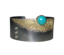 1 Seafoam Cuff with Chrysocolla by Jenny Reeves (Gold, Silver & Stone Bracelet)
