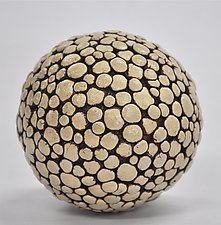 Polka Dot Ceramic Ball Rattle by Kelly Jean Ohl (Ceramic Sculpture)