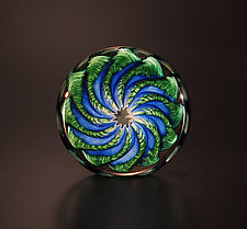 Blue and Aventurine Paperweight by The Glass Forge (Art Glass Paperweight)