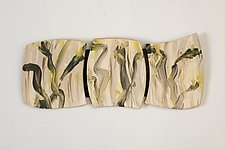 Yellow Buds by Kristi Sloniger (Ceramic Wall Sculpture)