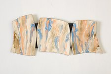 Orange and Blue Bouquet by Kristi Sloniger (Ceramic Wall Sculpture)