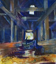 Van Benschoten Barn, Interior by Alix Travis (Watercolor Painting)