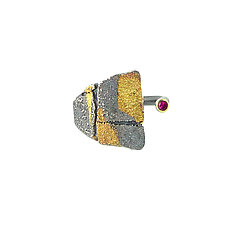Small Bedrock Wrap Ring with Ruby- Size 6.5 by Jenny Reeves (Gold, Silver, & Stone Ring)