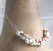 White Shoe Button Necklace by Connie Verrusio (Mixed-Media Necklace)