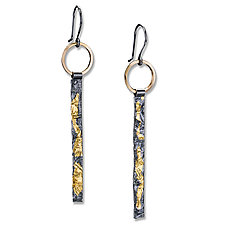 Reticulated Sticks by Suzanne Q Evon (Gold & Silver Earrings)
