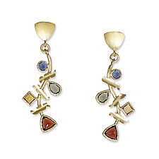 Multi-Stone Treasure Earrings by Suzanne Q Evon (Gold & Stone Earrings)