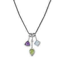 3 Stick Peridot Necklace by Suzanne Q Evon (Silver & Stone Necklace)