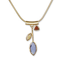 Iolite Petal Necklace by Suzanne Q Evon (Gold & Stone Necklace)