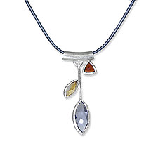 Iolite Petal Necklace by Suzanne Q Evon (Silver & Stone Necklace)