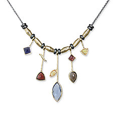 5 Stick Iolite and Gold Necklace by Suzanne Q Evon (Gold & Stone Necklace)