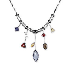 5 Stick Iolite and White Rhodium Necklace by Suzanne Q Evon (Rhodium & Stone Necklace)