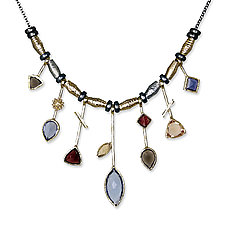 7 Stick Iolite & White Rhodium Necklace by Suzanne Q Evon (Rhodium & Stone Necklace)
