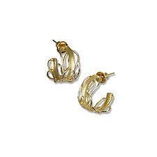 Small Gold Edge Post Earrings by Suzanne Q Evon (Gold Earrings)