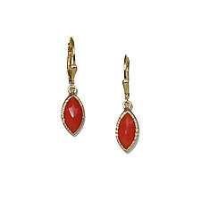 Gold Carnelian Marquise Earrings by Suzanne Q Evon (Gold & Stone Earrings)