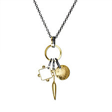 Triple Charm Necklace by Suzanne Q Evon (Gold & Silver Necklace)