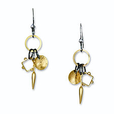 Triple Charm Earrings by Suzanne Q Evon (Gold & Silver Earrings)