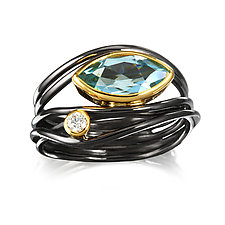 East West Ring in Blue Topaz by Suzanne Q Evon (Silver & Stone Ring)