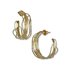 Large Gold Edge Hoops by Suzanne Q Evon (Gold & Silver Earrings)
