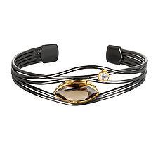 Black and Gold Smoky Quartz Edge Bracelet by Suzanne Q Evon (Silver & Stone Bracelet)