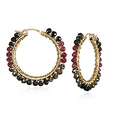 Medium Ruby and Spinel Hoops by Suzanne Q Evon (Beaded Earrings)