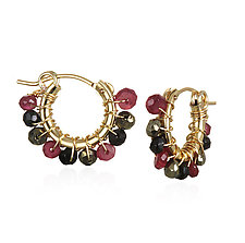Small Ruby/Spinel Hoops by Suzanne Q Evon (Gold & Stone Earrings)