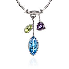 Blue Topaz Petal Necklace by Suzanne Q Evon (Silver & Stone Necklace)