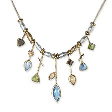 Blue Topaz Seven Stick by Suzanne Q Evon (Gold & Stone Necklace)