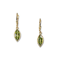 Gold Peridot Marquise Earrings by Suzanne Q Evon (Gold & Stone Earrings)