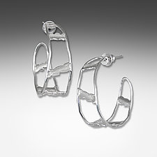 White Rhodium Ladder Hoops by Suzanne Q Evon (Silver Earrings)