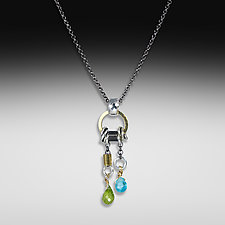 Peridot Apatite Two-Stone Drop Necklace by Suzanne Q Evon (Gold & Stone Necklace)