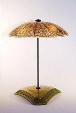 Sunburst Bowl Table Lamp by George Scott (Art Glass Table Lamp)
