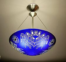 Kwakiutl Thunderbird Pendant Lamp by George Scott (Art Glass Pendant Lamp)