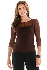3/4 Sleeve Essential Mesh Layering Tee by Cynthia Ashby  (Mesh Top)