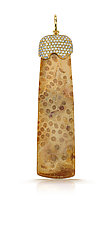 Coral Pendant on Leather I by Pamela Huizenga  (Gold & Stone Necklace)