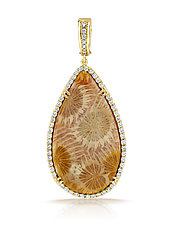 Coral Pendant on Leather III by Pamela Huizenga  (Gold & Stone Necklace)