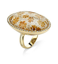 Oval Coral Ring by Pamela Huizenga  (Gold & Stone Ring)